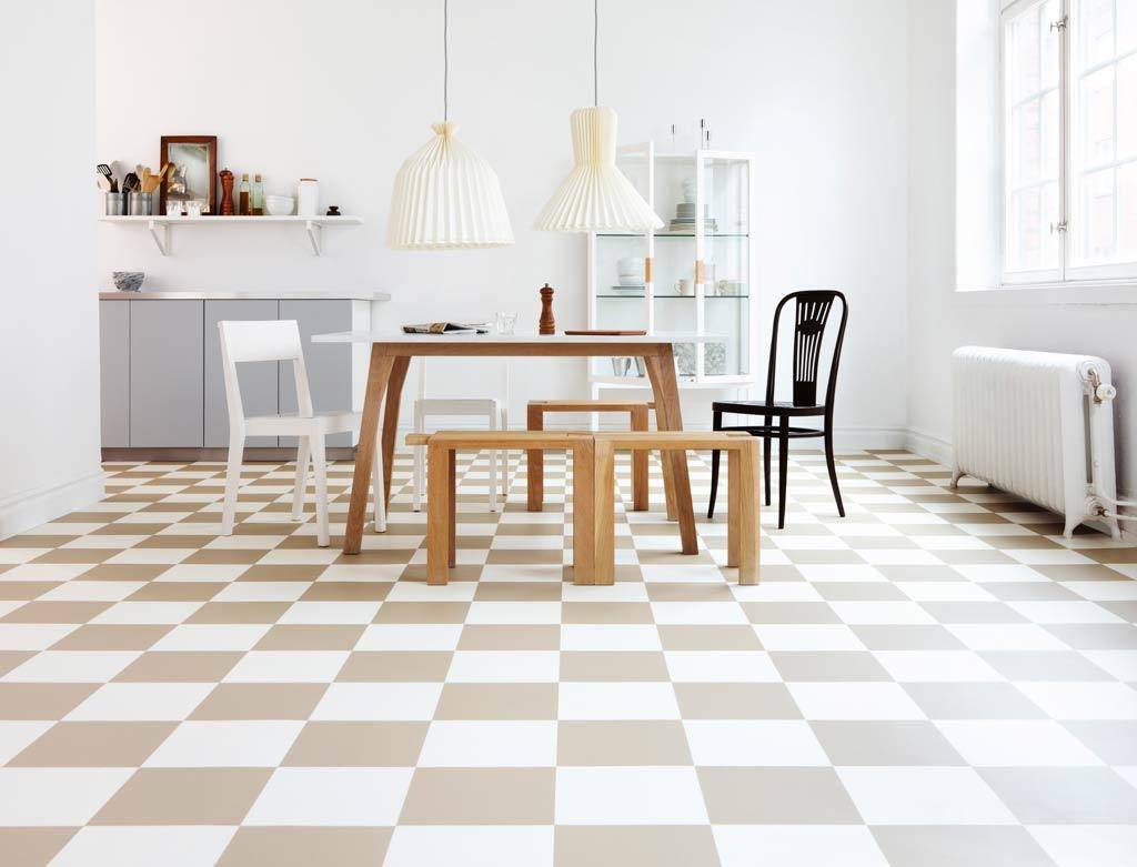 Rutigt golv retro i modern färg