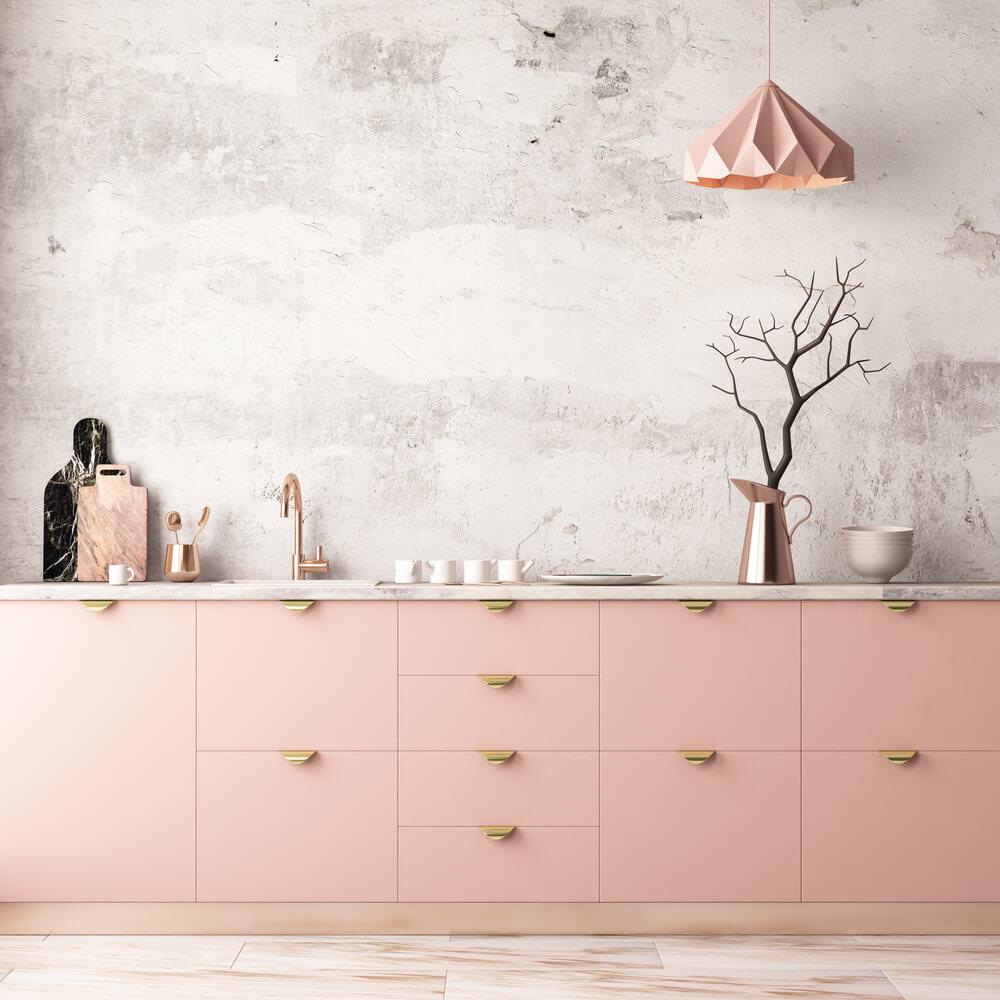 rosa modernt kök